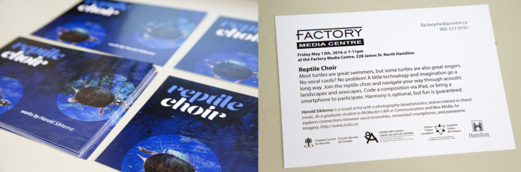 Promotional materials for ReptileChoir: May 13th, 2016 at the Factory Media Centre